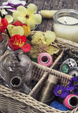 Sewing tools and decorations Stock Photos