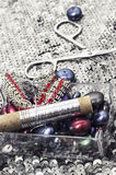 Sewing tools and decorations Stock Images