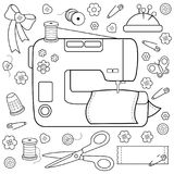 Sewing project tools and equipment. Coloring book page. Sewing tools equipment and tailor needlework accessories. Black and white coloring book page Royalty Free Stock Photography