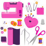 Sewing tools and equipment. Sewing tools equipment and tailor needlework accessories. Vector illustration Stock Images