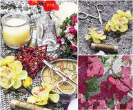 Sewing tools and floral decorations Stock Image