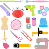 Sewing Tools and Handicraft. Vector of Sewing Tools and Handicraft accessories Stock Images