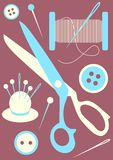 Sewing tools icons Stock Photo