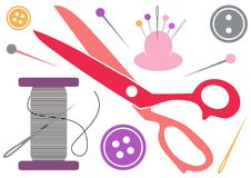 Sewing tools icons Royalty Free Stock Image