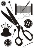 Sewing tools icons Stock Photography