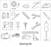 Sewing tools kit, line vector icons vector illustration