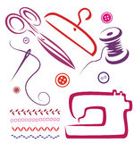 Sewing tools and objects set. Illustration in simple lines Royalty Free Stock Photography