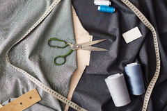 Sewing Tools On Tailors Table Stock Photo