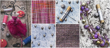 Sewing tools and samples textile fabric Royalty Free Stock Photos