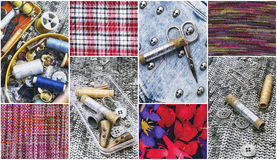 Sewing tools and samples textile fabric Stock Photography