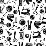 Sewing tools seamless pattern, vector background. Black sewing supplies on white background. For wallpaper design, fabric, wrapper. Prints, decoration, store Stock Photos