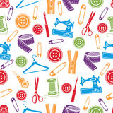 Sewing tools seamless pattern, vector background. Multicolored sewing supplies on white background. For wallpaper design, fabric Stock Images