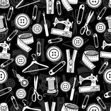 Sewing tools seamless pattern, vector background. White sewing supplies on black background. For wallpaper design, fabric, wrapper. Prints, decoration stock illustration