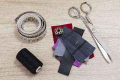 Sewing tools and sewing kit Royalty Free Stock Photo