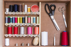 Sewing tools and sewing kit Stock Photos