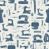 Sewing tools silhouettes, seamless pattern. Grey colors Stock Image