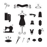 Sewing tools silhouettes Royalty Free Stock Photo