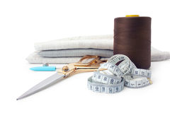 Sewing tools and supplies in a sewing kit Royalty Free Stock Photography