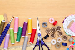 Sewing tools, tailoring and fashion concept Stock Photo