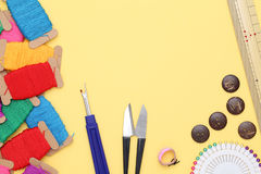 Sewing tools, tailoring and fashion concept Royalty Free Stock Image