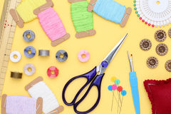 Sewing tools, tailoring and fashion concept Stock Photography