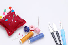 Sewing tools, tailoring and fashion concept Royalty Free Stock Photography