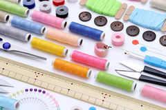 Sewing tools, tailoring and fashion concept Stock Images