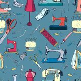 Sewing tools, vintage seamless pattern. Full colored Royalty Free Stock Image