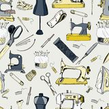 Sewing tools, vintage seamless pattern. Full colored Stock Photo