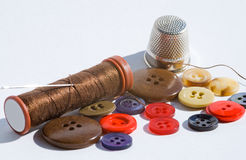 Sewing treads and buttons Royalty Free Stock Photo