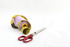 Sewing utensils, scissors, thread, buttons  Stock Photography