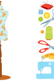Sewing vector background, border Stock Photo