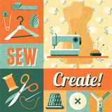 Sewing vintage decoration collage poster Royalty Free Stock Image