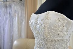 Sewing wedding dress Stock Photos