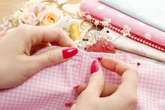 Sewing woman Royalty Free Stock Images