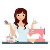 Sewing woman. Woman with sewing supplies and sewing machine Royalty Free Stock Photography