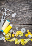 Sewing on wooden boards Stock Images