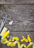 Sewing on wooden boards Royalty Free Stock Photos