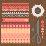 Sewing workshop equipment. Flat tailor shop design elements. Tailoring industry dressmaking tools icons. Fashion designer sew item. S top view Royalty Free Stock Photography