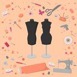 Sewing workshop equipment. Flat tailor shop design elements. Tailoring industry dressmaking tools icons. Fashion designer sew item Royalty Free Stock Photos