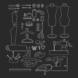 Sewing workshop equipment. Outline tailor shop design elements. Tailoring industry dressmaking tools icons. Fashion designer sew i Stock Images
