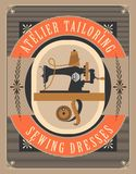 Sewing workshop poster. Vector retro poster sewing workshop Atelier tailoring picture old sewing machine Royalty Free Stock Image