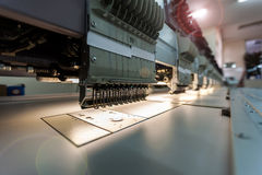 Sewing workshop. The production line in industrial size textile factory Stock Photo