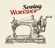 Sewing workshop or tailor shop. Hand drawn vintage  machine. Vector illustration. Sewing workshop or tailor shop. Hand-drawn vintage sewing machine. Vector Royalty Free Stock Image