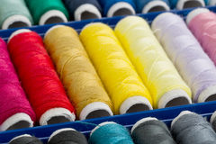 Sewing yarn spools Royalty Free Stock Photo