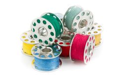 Sewing yarn spools Royalty Free Stock Images