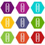 Sewn rectangular button icon set color hexahedron Stock Image
