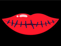 Sewn up female lips Stock Photo