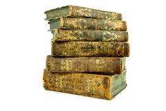 Sex åldrades forntida gamla staplade läderböcker Royaltyfri Bild