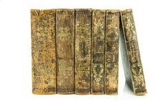 Sex åldrades forntida gammalt stå för läderböcker Arkivfoto